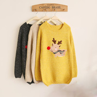 Christmas Deer Red Nose Sleeve Sweater