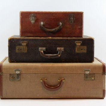 Vintage Suitcase / Vintage Stack of Suitcases / Luggage / Old Suitcase