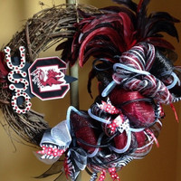 University of SC Gamecocks Wreath, USC Wreath, Gamecocks Decor, Gamecocks Wreath, College Wreath, Gamecocks Alumni, Alumni gift, Door Wreath