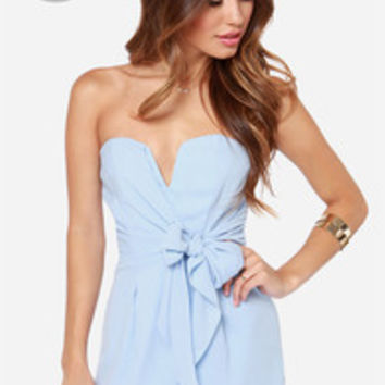 LULUS Exclusive Tie it all Together Light Blue Romper