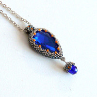 Long necklace with sapphire teardrop, beadwork, beaded necklace, original necklace