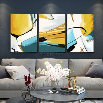 Abstract painting Yellow acrylic painting on canvas huge size original painting 3 pieces Wall Art hand painted Home Decor cuadros abstractos