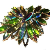 "Juliana Blue Green Brooch Navette Rhinestones Gold Metal Flower Cluster 2 5/8"" Vintage"