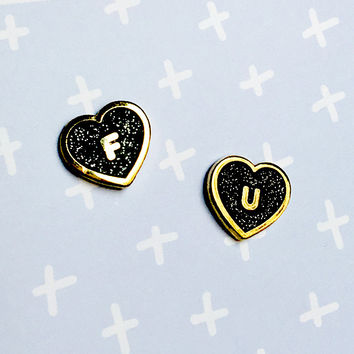 FU Heart Earrings