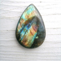 Labradorite Cabuchon, Teardrop shape, multi colored flash, Spectrolite, crystal healing, wire wrapping stones, 25g, .9 oz., beautiful piece