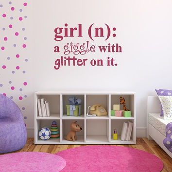 Wall Decal Girl Definition Giggle with Glitter on it Dictionary Nursery Decal 22447