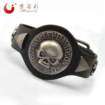 Punk Big Skull Bracelet for Lovers PU Leather Braclet Men Friendship Bracelet Braslet Pulseira Bracelete Masculina Ancora Couro