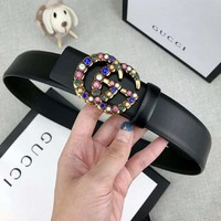 GUCCI Fashion Women Colorful Diamond Smooth Buckle Belt Leather Belt Black