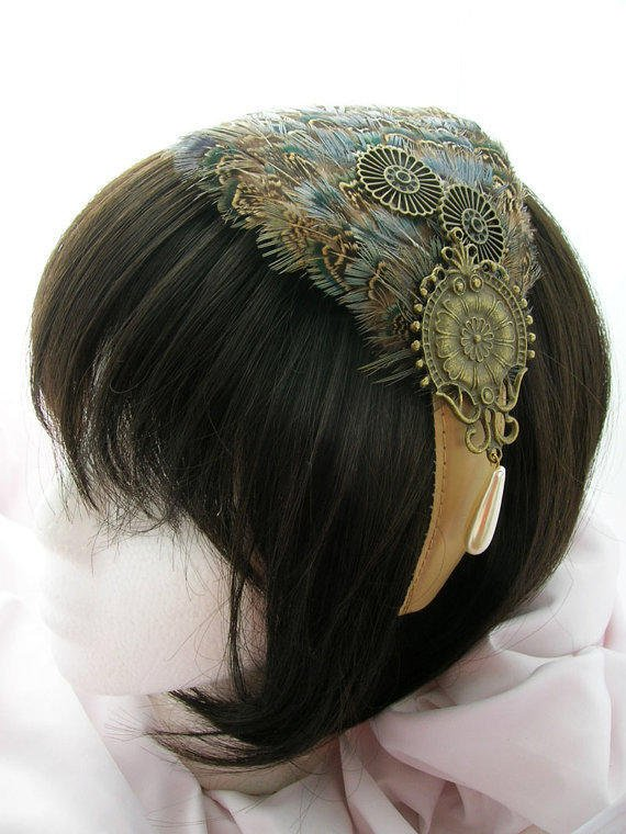 Steampunk Feather Fascinator - OZION design - CHOOSE between headband, comb or hair clip