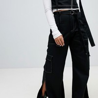 The Ragged Priest Wide Leg Denim Jeans With Splits at asos.com