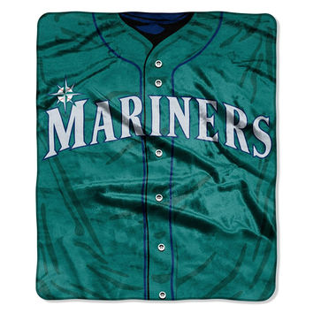 Seattle Mariners MLB Royal Plush Raschel Blanket (Jersey Series) (50in x 60in)