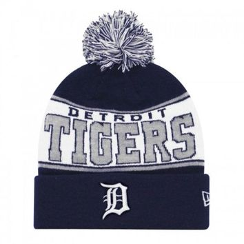 ESBON MLB New Era Detroit Tigers 2015 Banded Mark Navy Knit Hat