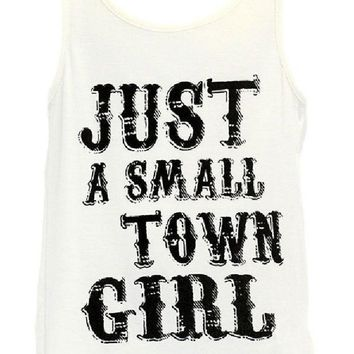 Girls Just a Small Town Girl Tank, Off White