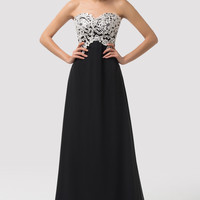 Strapless Beads Lace Crochet  Panel Maxi Evening Dress