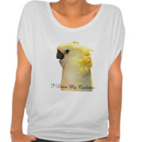 Posing white cockatoo bird t-shirt