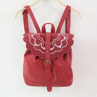 Leather Embroidery iPad Bag Backpack