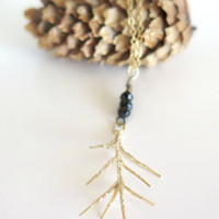 Woodland Boho Necklace / Pine Leaf Pendant Necklace / Gold Forest Jewelry / Fall Jewelry