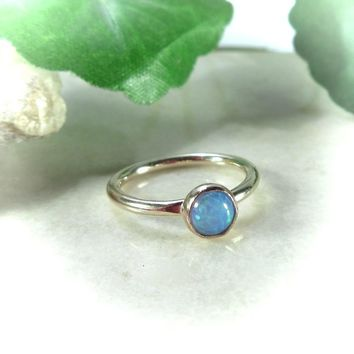 Tiny Hoop Earring Gemstone Fire Opal Blue Gold Single