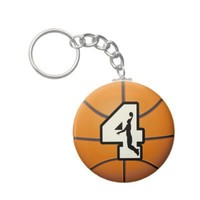 Number 4 Basketball and Player Key Chain from Zazzle.com