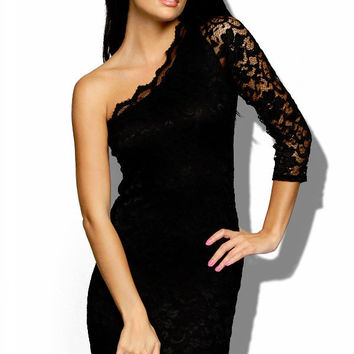Lightweight Black Lace One Shoulder Dress