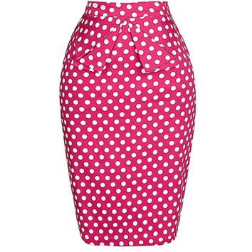 Fabulous Retro Bow Tie Pink Spot Pencil Midi Skirt