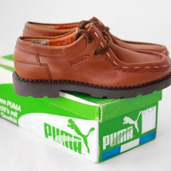 new vintage puma oxford shoes leather casual leisure loafers moccasins mens italy  number 1