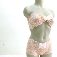 Sheer peach pink lace wedding lingerie set, bridal lingerie, see through peach lace lingerie pretty lace bralette and matching knickers