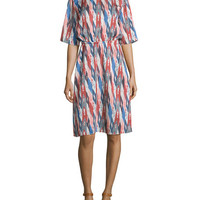 Isabel Marant Etoile Harold Half-Sleeve Printed Dress, Ivory/Multi