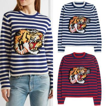 PEAPUF3 Gucci Fashion Long Sleeve Top Sweater Round Neck Tiger Embroider Sweatshirt