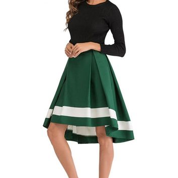 Women Summer Irregular Office Lady Skirt High Waist Swing Umbrella Pleated Skirt Casual High and Low Hem Swallowtail Skirt