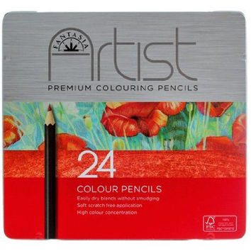 24 Premium Colored Pencils by Fantasia, for Adult Coloring Books, Drawing, Shading, Rendering, Comes in Metal Tin Case