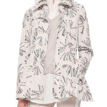 Abstract Floral-Print Drawstring Parka, Size: