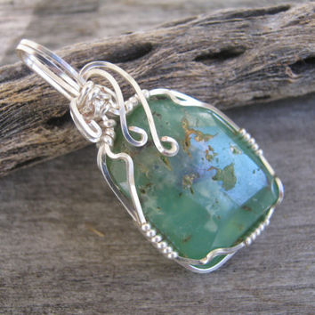 Chrysoprase Pendant, Wire Wrapped Green Gemstone, Silver Wrapped