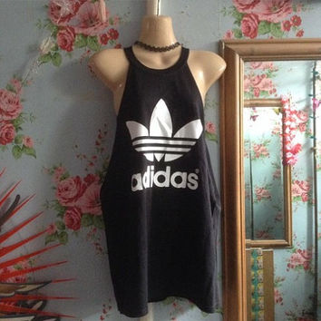 Unique slouchy side boob deep pitted  classic adidas minidress / top