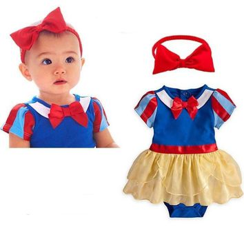 Girl Princess Snow White Baby Short Sleeved Dress Jumpsuit Romper with headband