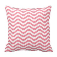 Pink And White Waves Throw Pillows