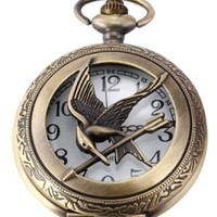 Big Sized Hunger Games Golden Pocket Watch Necklace Thick Sized Cooper Chain