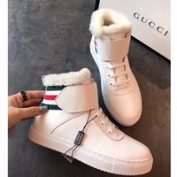 Best Online Sale Gucci Snow Wool Boots White Short Tube Women Sports Boots