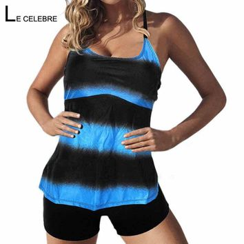 Tankini Plus size 2018 Women Large Big Swimsuit With Shorts Female Striped Swimwear Swim Wear Two-piece Bathing Suit Bather May