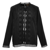 Sea Black Embroidered Crinkle Cotton Cut Out Top Black