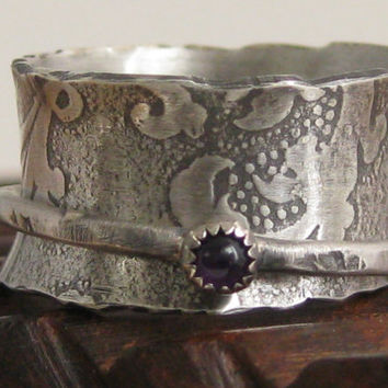 Sterling silver amethyst spinner ring wedding band size 7 worry fidget anxiety meditation