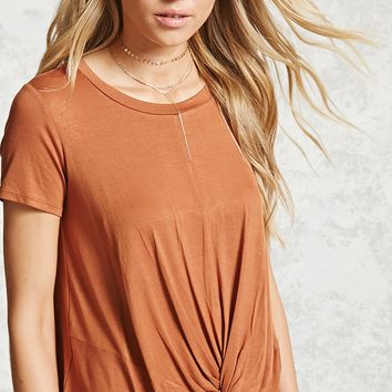 Slub Knit Twist-Front Tee
