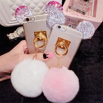 Luxury 3D Glitter Rhinestone Mickey Ears Rabbit Fur Ball Tassel Plush Phone Cases Cover For iPhone 7 7Plus 5G 5S 6 6G 6S 6Plus