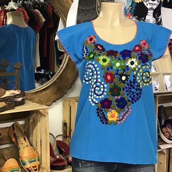 Mexican Embroidered Bouquet Blouse Turquoise