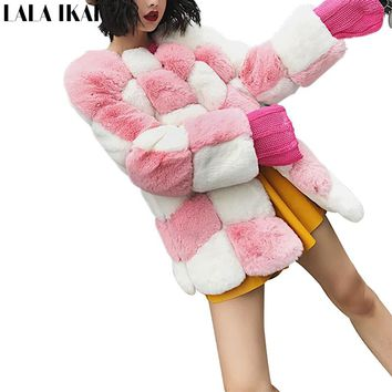 2017 LALA IKAI Women Thick Faux Mink Fur Coat Warm Long Sleeve Clothing Thermal Heavy Chic Fur Jacket Sweet Winter SWQ0399-45