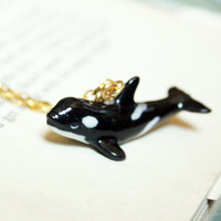killer whale necklace // porcelain whale figurine necklace // animal necklace