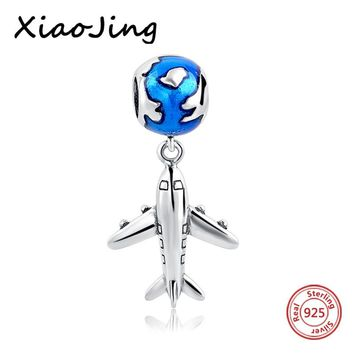 High quality Plane and earth Pendant charms Beads Fit Pandora charms silver 925 original beads jewelry making valentines gift