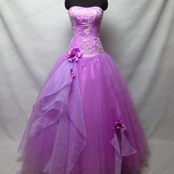 Custom Made Embrodery Purple Tulle Quinceanera Dress,Strapless Lace Back Up Floor Length Prom Ball Gown