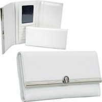 Plain Leather Like Fold Over Flap With Flip Clasp Checkbook Wallet White Faux