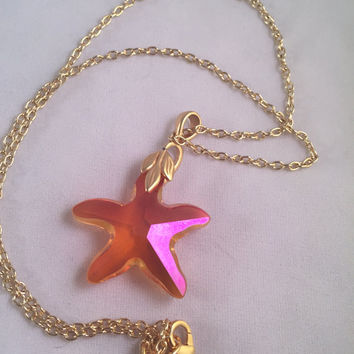 Swarovski Pink Starfish Necklace Crystal Stunning Necklace Beach Jewelry Oean Nautical Starfish Necklace